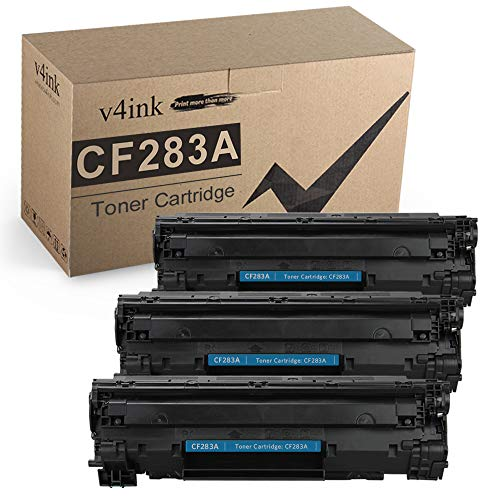 V4INK Compatible CF283A Toner Cartridge Replacement for HP 83A CF283A for use in HP Laserjet Pro MFP M127fw M127fn M125nw M201dw M201n M225dn M225dw M125a Series Printer (Black, 3 Pack)