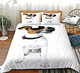 Bdhnmx Duvet Cover Set 3 Pcs 3D Printed White Dog with Sunglasses Bedding Set with Zipper Closure Supersoft Lightweight Microfiber Cotton-Single Size 140x200cm