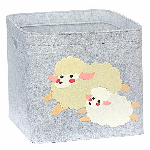 Lucky Sign - Boîte de Rangement Enfant Panier à Jeux pour Fille et Garcon Bac à Jouets Chambre Bebe, 33x33x30cm - Mouton