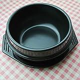 N\C Ciotola in Pietra Coreana con Vassoio, pentola in Ceramica sfrigolante per zuppa Bibimbap Cibo Coreano Nero 2.1quart