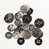 Leekayer 22 piezas Genuino Negro Madre de Pearl Blazer Botones Juego de botones 20 mm 15 mm Natural Negro botones a granel para hombres (Negro)