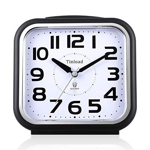 5.5 Zoll Leise Analog Wecker ohne Ticking, sanftes Aufwecken, Pieptöne, Lautstärke erhöhen, batteriebetriebene Schlummer- und Lichtfunktionen, Einfache Einstellung (Schwarz)