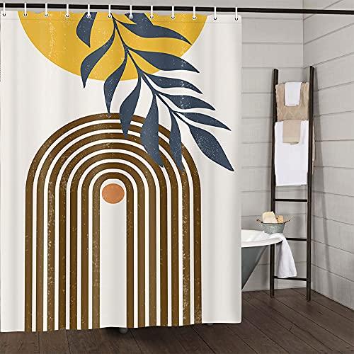 Mid Century Abstract Modern Fabric Shower Curtain, Cute Aesthetic Terracotta Sun Print Boho Minimalist Art Shower Curtains for Bathroom, Scandinavian Orange Sunset Geometric Bath Curtain,69X70in,Beige