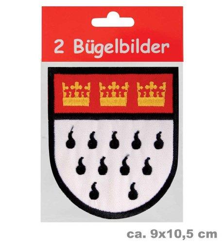 Bügelbild Wappen 90 x 105 mm 2er Pack, Karneval, Accessoire, Köln