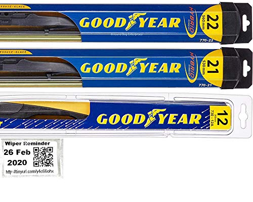 Windshield Wiper Blade Set/Kit/Bundle for 2011-2013 Jeep Grand Cherokee - Driver, Passenger Blade & Rear Blade & Reminder Sticker (Hybrid with Goodyear Rear)
