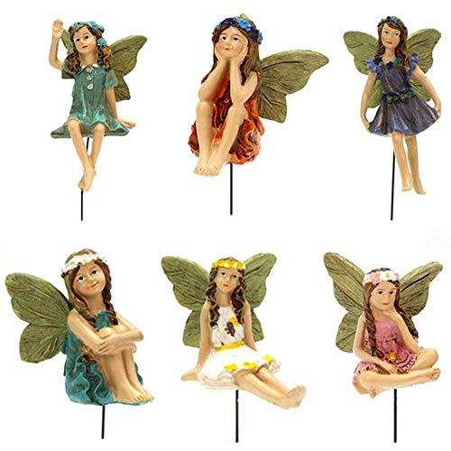 Hada del jardín Micro Paisaje en Miniatura Flor Hadas Figuras Escultura de Resina Ornamento al Aire Libre de Hadas Decoración Conjunto de 6 para Tiesto Dollhouse