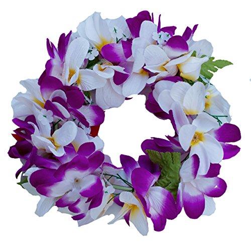 Women Floral Headband Hawaiian Plumeria Flower Haku elastic Leis (Purple white)
