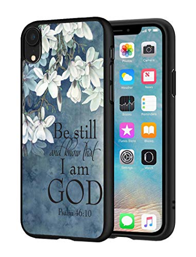 iPhone XR Case, Slim Impact Resistant Shock-Absorption Silicone Protective Case Cover for Apple iPhone XR (2018) 6.1 inch - Christian Quotes Bible Verse Psalm 46:10