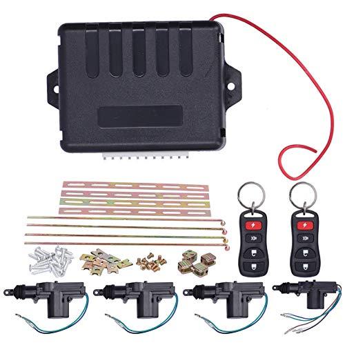 Akozon Control remoto automático Kit de actuador de bloqueo central Sistema de entrada sin llave 12V con indicador LED Kit de cierre centralizado
