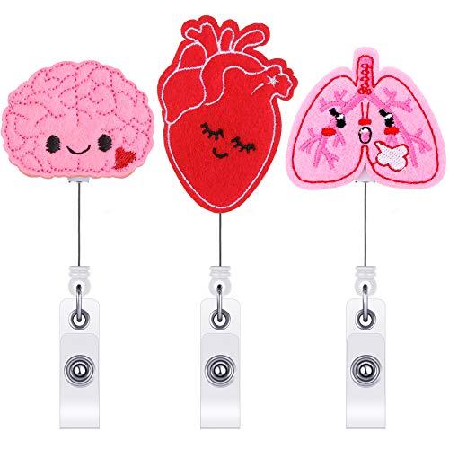 Epakh Retractable Badge Reel Holder for Nurse Brain Badge Reel Felt Tag Holder with Clip Lung Heart ID Badge Reel Clip for Nurse Doctor Office School (3)