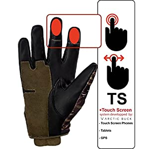 Arctic Buck Hunting Gloves In Real Leather Best Tactical Shooting Gear To Stay Warm And Dry With Stealth Camo Perfect Feel And Touch Screen Feature