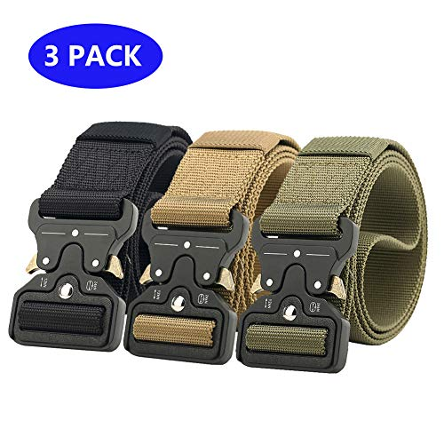 Ginwee 3 Pack Tactical Belt, Military Style Webbing Riggers Web Belt...