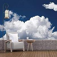 3D壁壁画 カスタム壁画 白い雲の風景 リビングルームテレビソファ背景防水ステッカ-120x100cm/47x39inch
