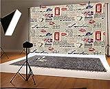 Tea Party - Fondo de vinilo para fotos de 10 x 6.5 pies, diseño de periódicos de Londres, con elementos de grunge y marcas de beso para selfies, fotos de fiesta de cumpleaños