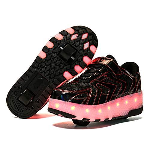 Unisex Enfants LED Chaussures avec roulettes Chaussures de Sport 7 Couleurs Clignotant Gymnastique Sneakers Rétractable Technique Skateboard Mode Baskets de Garçon et Fille