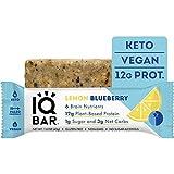 IQBAR Brain + Body Protein Bars, Lemon Blueberry, Keto, Vegan, Paleo Friendly, Low Sugar, Low Net Carb, High Fiber, Gluten Free, No Sugar Alcohols, 12 Count