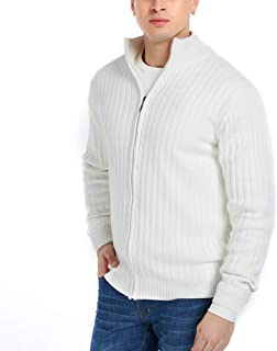 APRAW Men's Casual Slim Fit Cardigan Sweaters with Zipper Cotton Knitted Cardigan for Men