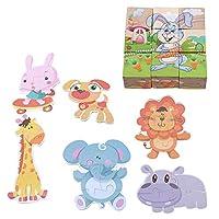 Xin Lei キューブパズル 木製パズル 動物柄 組み立てブロック 3D知育おもちゃ 子供向け 出産祝い 誕生日 プレゼント 象