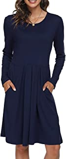 Women's Casual Long Sleeve Flowy Pleated Fall Dresses with Pockets