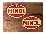 24/7stickers #686 / 2X MINOL Aufkleber je 10x7,5cm VEB DDR Oldtimer Retro Vintage Osten für Trabant Barkas Wartburg Simson usw.