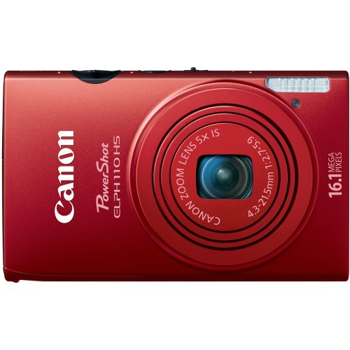 Read About Canon PowerShot ELPH 110 HS 16.1 MP CMOS Digital Camera with 5x Optical Image Stabilized Zoom 24mm Wide-Angle Lens and 1080p Full HD Video Recording (Red)