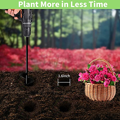 """Auger Drill Bit for Planting 1.6x16.5inch Extended Length Garden Auger Spiral Drill Bit for Planting Bulbs Flowers Planting Auger for Drill Post Hole Digger for 3/8"""" Hex Drill"""