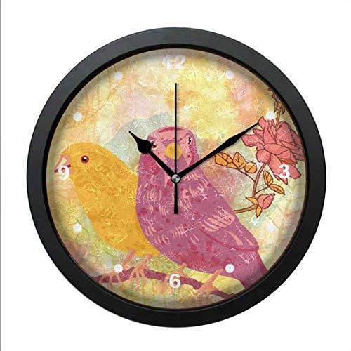 QgjayjqQ Wall Art Clock Oil Printed Birds and Roses On Golden Autumn L