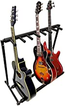 MyGift 7 Guitar Black Metal Padded Folding Stand, Portable Electric & Acoustic Guitar Stage Rack - 30 x 34