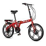 Archer Vélo Pliant Rapide Amortisseur À Vitesse Variable Ultra Léger Portable Roue De Rayon De Vélo Urbain Unisexe-Adulte,Rouge,16inch