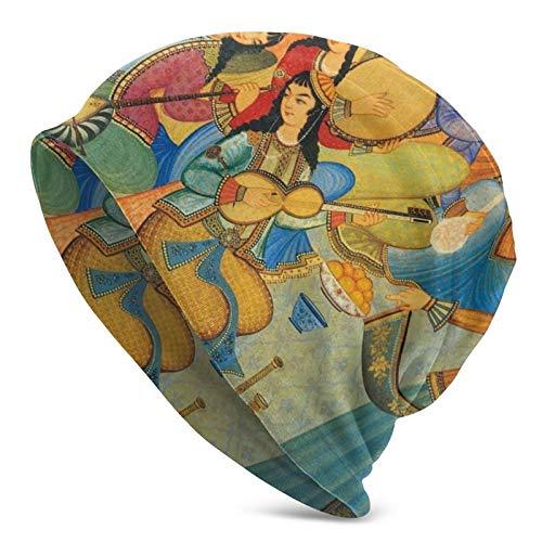 WangHQ Feather Bird Pattern Watercolor - Gorro de punto unisex con diseño de calavera Tradicional Tribes Of Eastern Iran1 Talla única