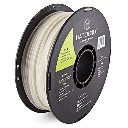 HATCHBOX 3D PLA-1KG3.00-GLOW PLA 3D Printer Filament, Dimensional Accuracy +/- 0.03 mm, 1 kg Spool, 3.00 mm, Glow