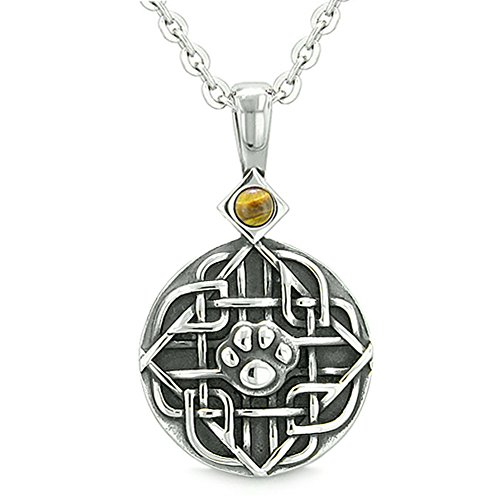 BestAmulets Amulet Celtic Shield Knot Magic Wolf Paw Tiger Eye Protection Magic Powers Pendant 18 Inch Necklace