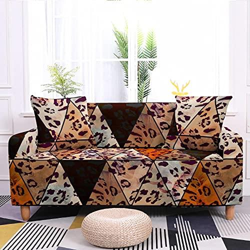 Meiju Fundas de Sofá Elasticas de 1 2 3 4 Plazas, Geometría Ajustables Cubierta de Sofá Cubre Sofa Antideslizante Funda Cubre Sofas Furniture Protector (Triángulo Doodle,4 plazas - 235-300cm)