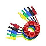 Aofan 5 cables de doble punta apilables de 4 mm, para pruebas eléctricas de laboratorio, 1 m (5 colores)