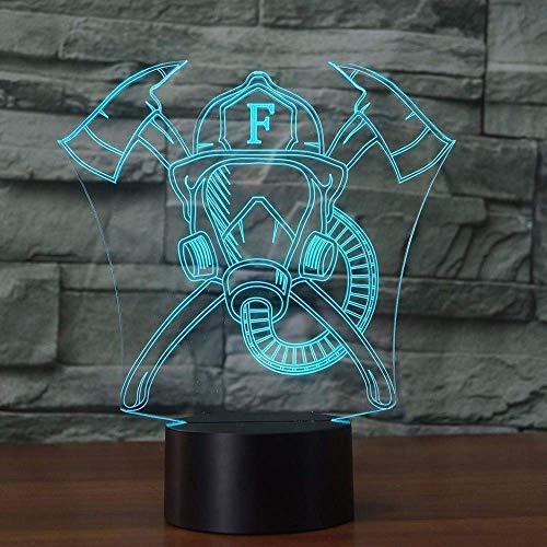 Diapositiva 3D Forma de luz nocturna 3D Mscara de bombero 7 Cambio de color LED Lmpara de mesa de acrlico plana Base Abs Cargador USB Decoracin del hogar Juguete Cumpleaos Nio Regalo para nios