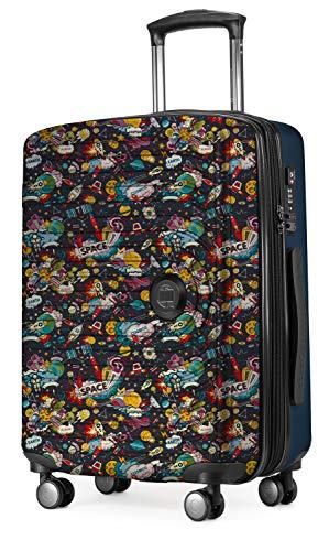 Hauptstadtkoffer Mitte - Kindergepäck, Kinderkoffer, Hartschalenkoffer, Kinder Trolley Hartschale, Handgepäck 55 cm, 42 Liter, Space Dunkelblau Space Schwarz