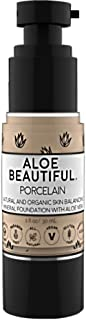 Organic Liquid Mineral Foundation Makeup with Aloe - All Natural Vegan Gluten Free Ingredients - Made In USA, Porcelain
