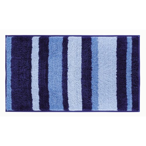 iDesign Stripes Microfiber Polyester Bath Mat, Non-Slip Shower Accent Rug for Master, Guest, and Kids' Bathroom, 21' x 34', Surf Blue