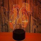 Tanzschuhe 3D Illusion Lampe Nachtlicht 7 Farbe ändern Touch Led Baby Schlaf Licht Schlafzimmer Dekor Tischlampe Weihnachtsgeschenk Touch Schalter