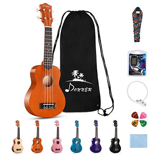Donner DUS-10N Soprano Ukulele Ukelele Beginner Kit for Kids Students 21 Inch Rainbow with Bag, Strap,Strings, Tuner, Picks, Polishing Cloth - Natural