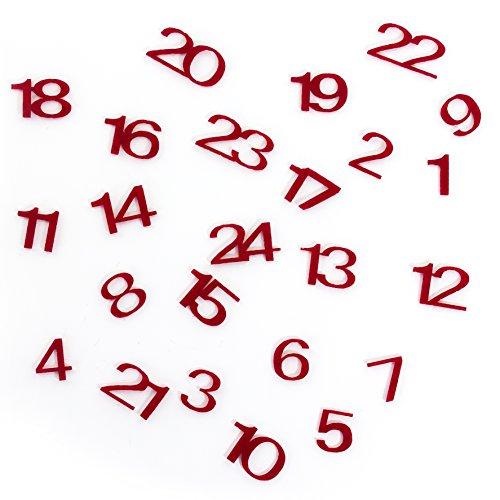 Oblique-Unique® Filz Nummern 1-24, 1,5 cm, 24 Stück, rot Weinachten Basteln