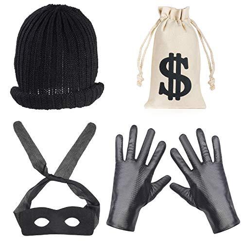 Beefunny Robber Costume Disfraces de ladrón Accesorios de Disfraces Máscara de Ojo Negro Guantes Bolsa de Dinero Bolsa Cordón Signo de dólar Símbolo para Regalo Juguete Fiesta Favor (C)