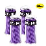 Surplex Microcepillos aplicadores de 400 piezas, Adecuado para Extracción de Pestañas, Eliminación de Maquillaje, Nail Art and Painting, Conjunto de 400, Púrp