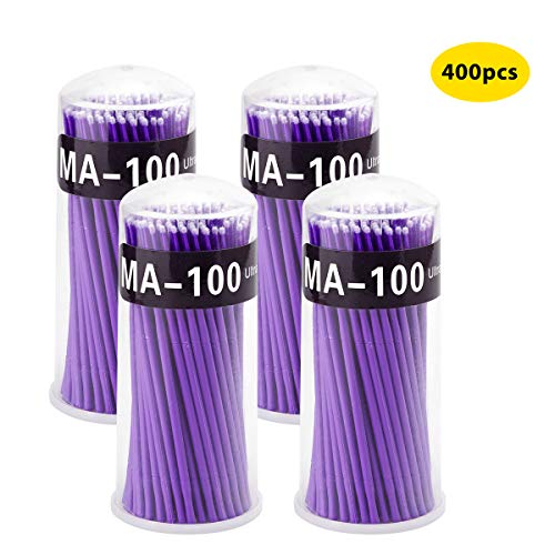 Surplex 400 Stück Einweg Wattestäbchen, Microbrush Microbürstchen Reinigungsstäbchen Reinigungsstäbchen zur Minipinsel Wimpernverlängerung Zubehör, für Makeup, Zahn- und Mundpflege (Lila)