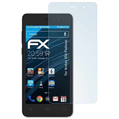 atFolix Schutzfolie kompatibel mit Archos 45d Platinum Folie, ultraklare FX Bildschirmschutzfolie (3X)