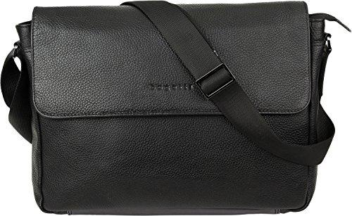 Bugatti Citta Leder Businesstasche für Damen und Herren mit 13' Laptopfach, Arbeitstasche Aktentasche Große Bürotasche, Schwarz