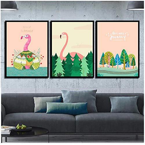 WENJING Scandinavisch Art Canvas Schilderij Flamingo Wandkunst Modulaire Dierenbeeld Landschap Groene Planten Poster Home Decor Babykamer 40X60Cmx3 Pcs Geen lijst