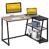 HOMOOI Mesa de Ordenador Madera con Estantes Negro y Oak L-Shaped Escritorio Estudio 125x80x75cm LCD112001WA