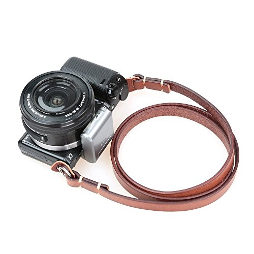 CANPIS Genuine Leather Camera Neck Shoulder Strap for Fuji Sony Olympus Panasonic Lecia Canon Nikon etc DSLR & Mirrorless Cameras (Brown, Retro Style, Slim Belt)