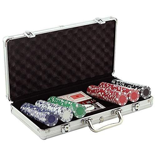 LGFB Blackjack-Sets 300 Stück Poker Chips Kartenspiel für Familie Freunde Sponsored Glücksspiel-Unterhaltung mit Aluminium Koffer